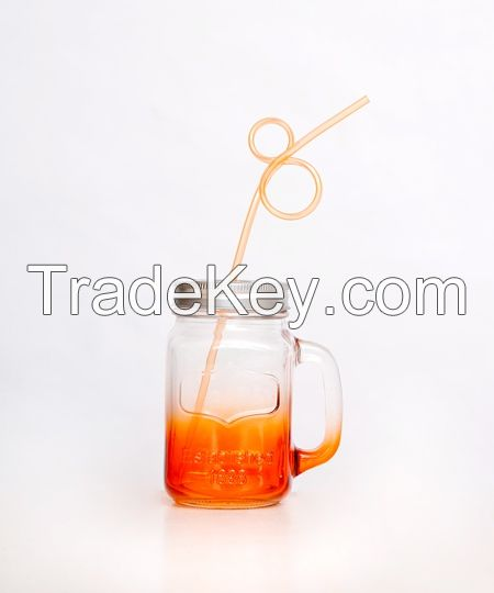 High Quality Clear Mason Jars 16oz Water Skull Jar With Straw