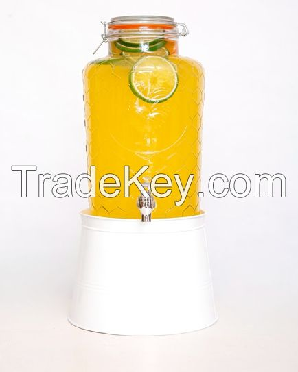 Factory Price Hot Sale Glass Jar With Tap Rooster Beverage Dispenser Glass
