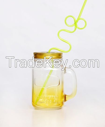 16oz Factory Price Glass Mason Jar Wide Mouth With Straw Lid