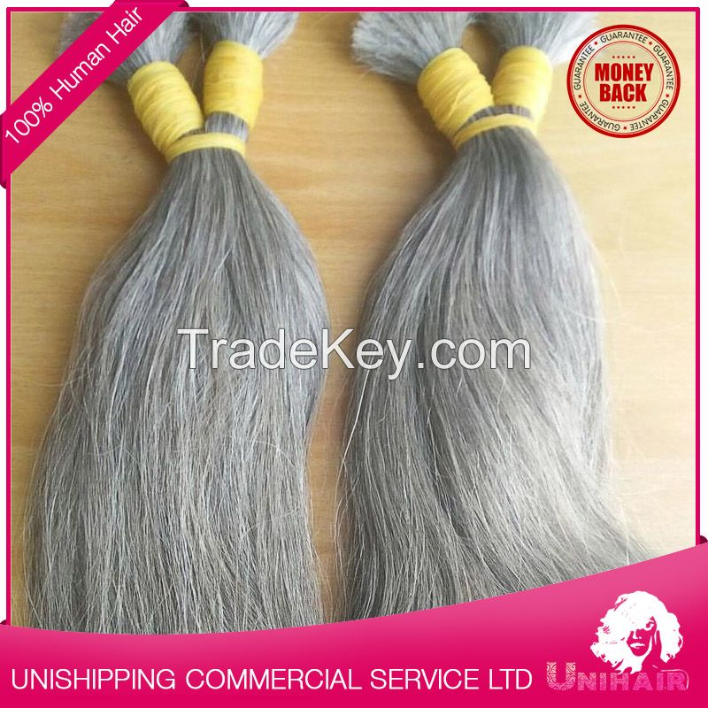 High Quality Grey Human Hair By Bulk Hair Extensions Wholesale By