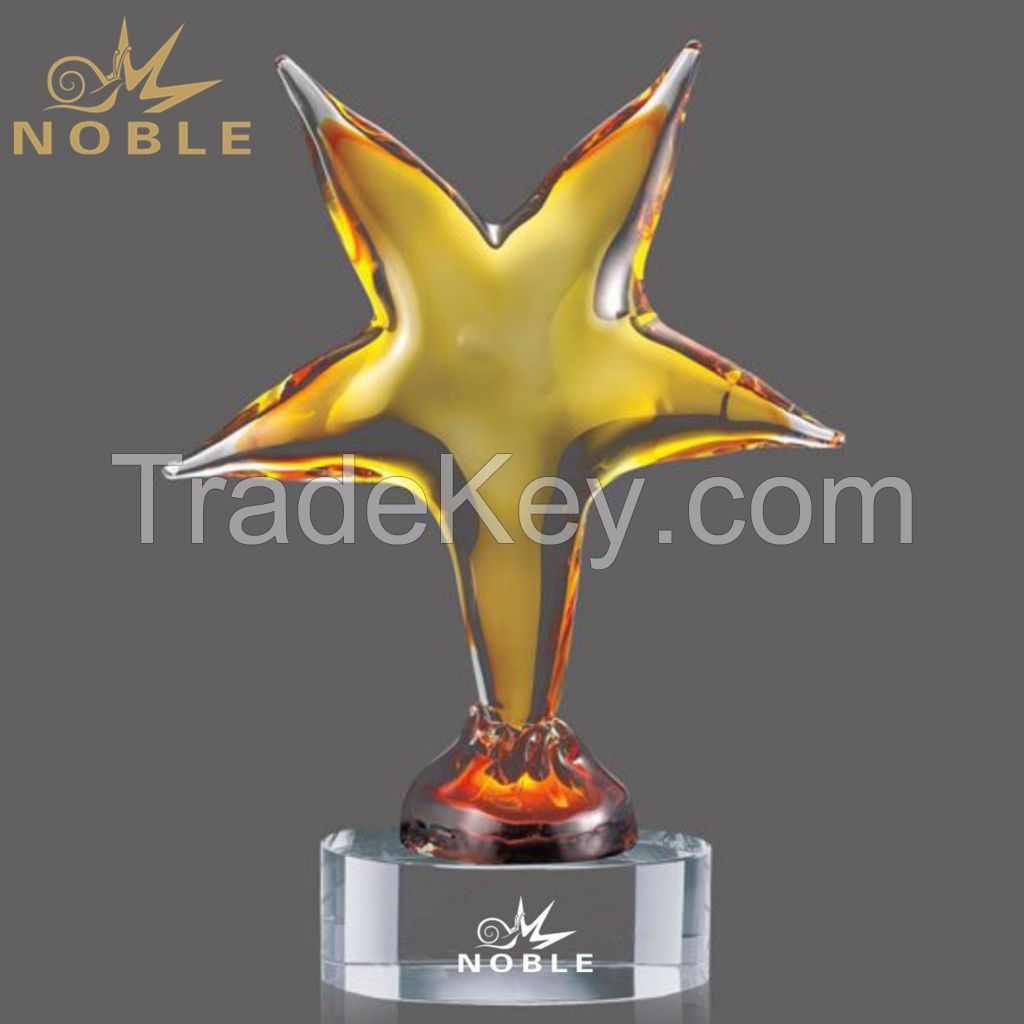 Crystal Starfish Shape Craft Color Hand Blown Glass Trophy