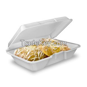 White Foam Hinged Lid Containers