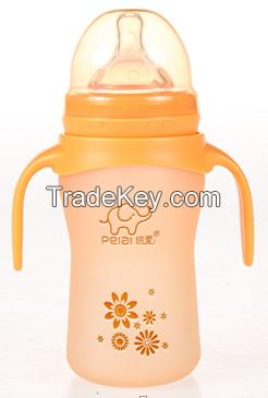 150ml silicone temperature sensing non-slip glass feeding bottle