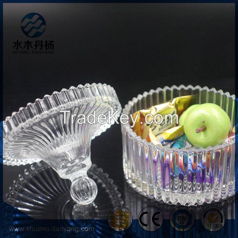 Fancy 250ml food grade glass jar with glass lid candy jar