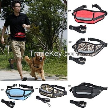 People and Dog Running Waist Bag and Leash Rope Set