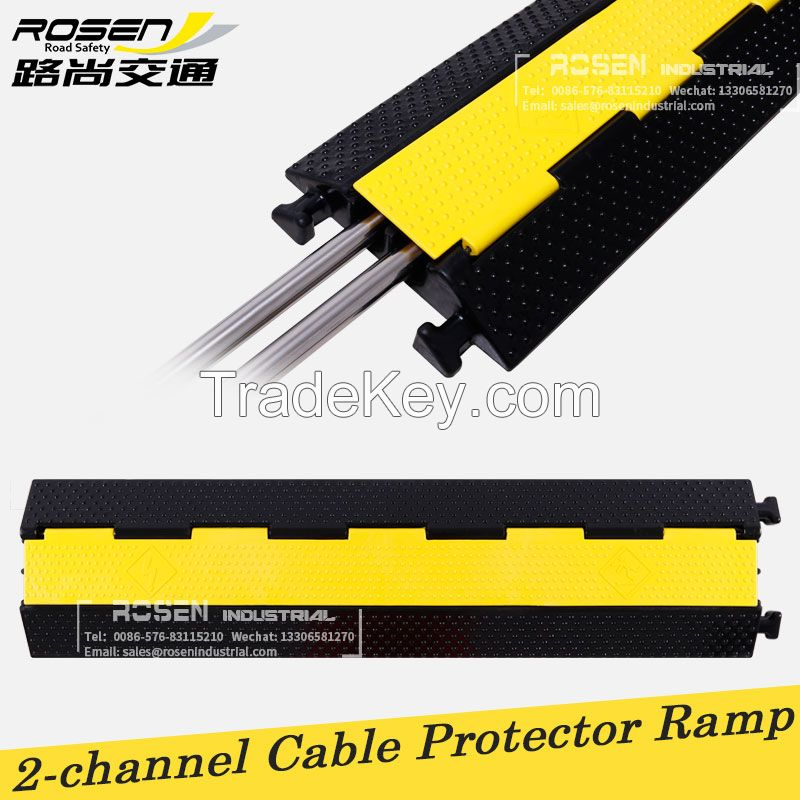 2-channel Yellow Lid Black Rubber Cable Protector Ramp