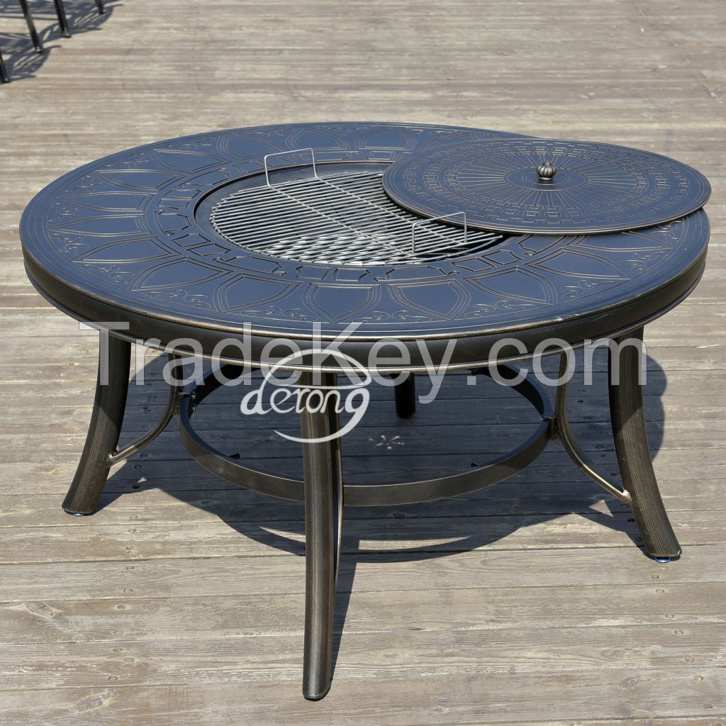 Cast aluminum garden set metal table and chairs with BBQ grill