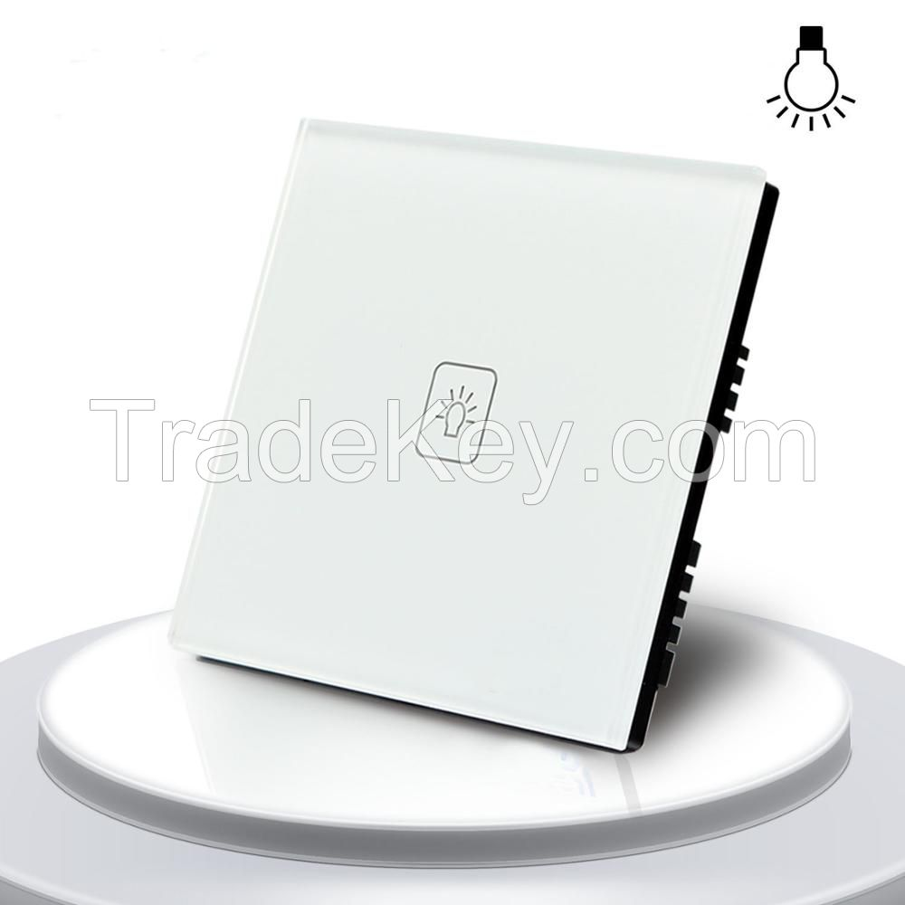 UK Standard 1 Gang 1 way Remote Control Dimmer Touch Switch White Crystal Glass Panel Remote Touch Lamp Dimmer Switch