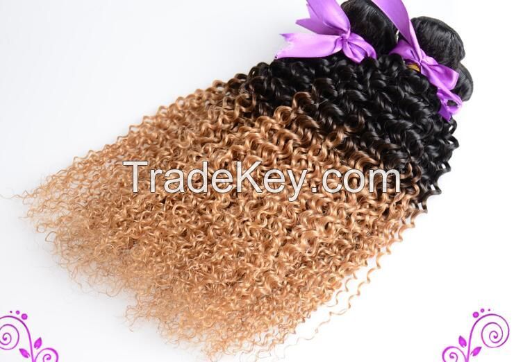 Ombre color human hair weft