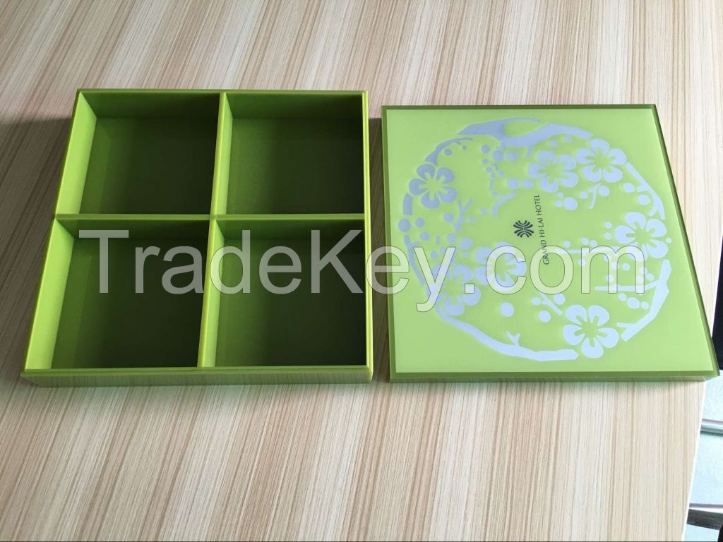 Customized Logo Acrylic Storage Box With 4 Compartments