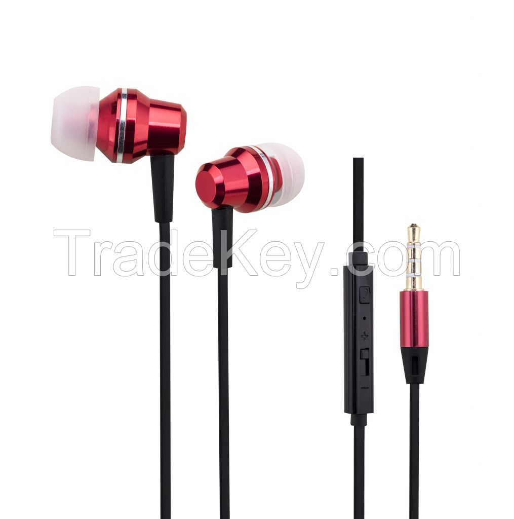 Colorful Metal Wired Earphone headset with 3.5mm Connector Microphone
