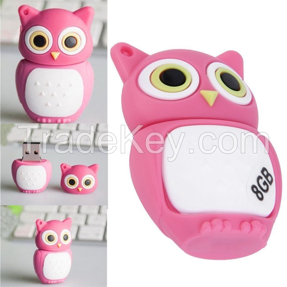 Pink Hot Owl 8GB Gift Pen drive cartoon USB2.0 Memory Flash Stick Storage U Disk