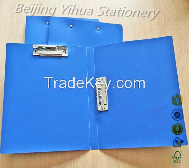 A4 Black Pu/Genuine Leather cover clip Folder