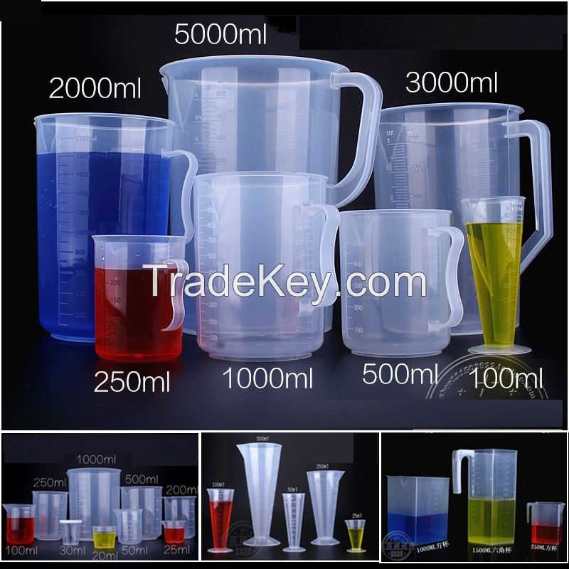 pp plastic beaker cups without handle graduated plastic measuring beaker with handle