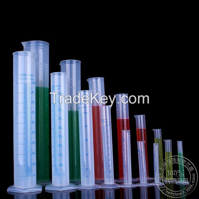 high quality graduated laboratory plastic pp measuring cylinder 10ml 25ml 50ml 100ml 250ml 500ml 1000ml