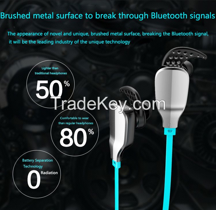 custom brand voice control music playing sport bluetooth earphone with different colors