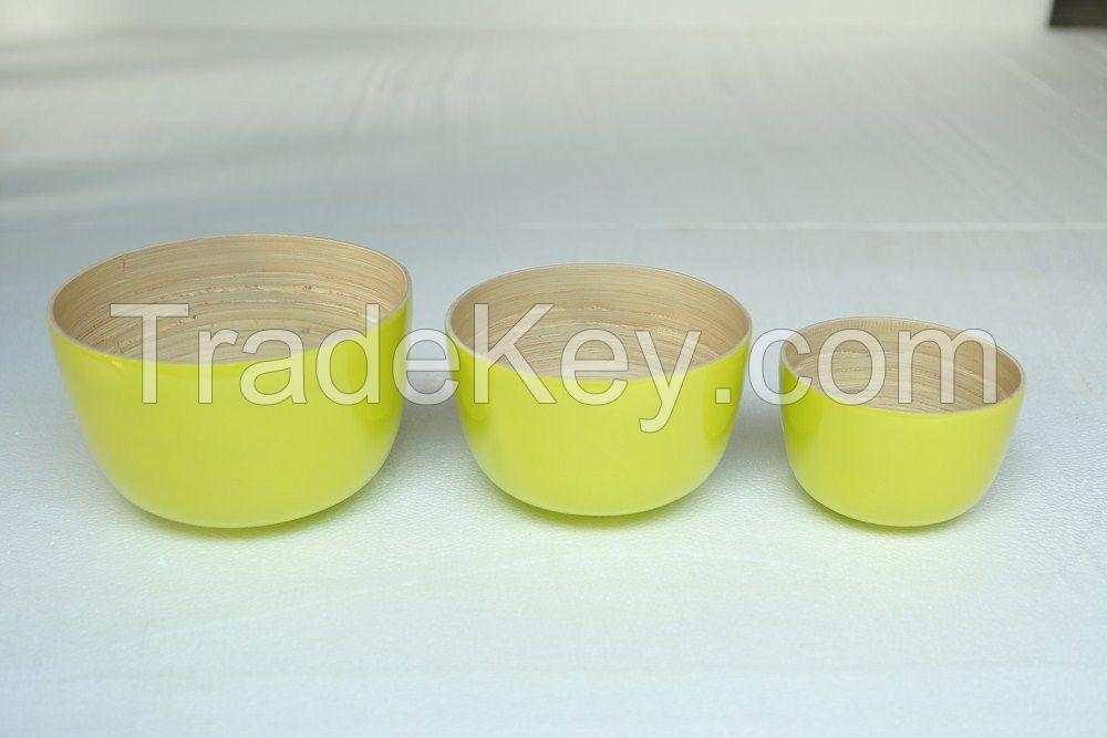 Vietnam spun bamboo bowl, spun coiled bamboo bowl, coiled bamboo bowl, bamboo fiber bowl, bamboo bowl