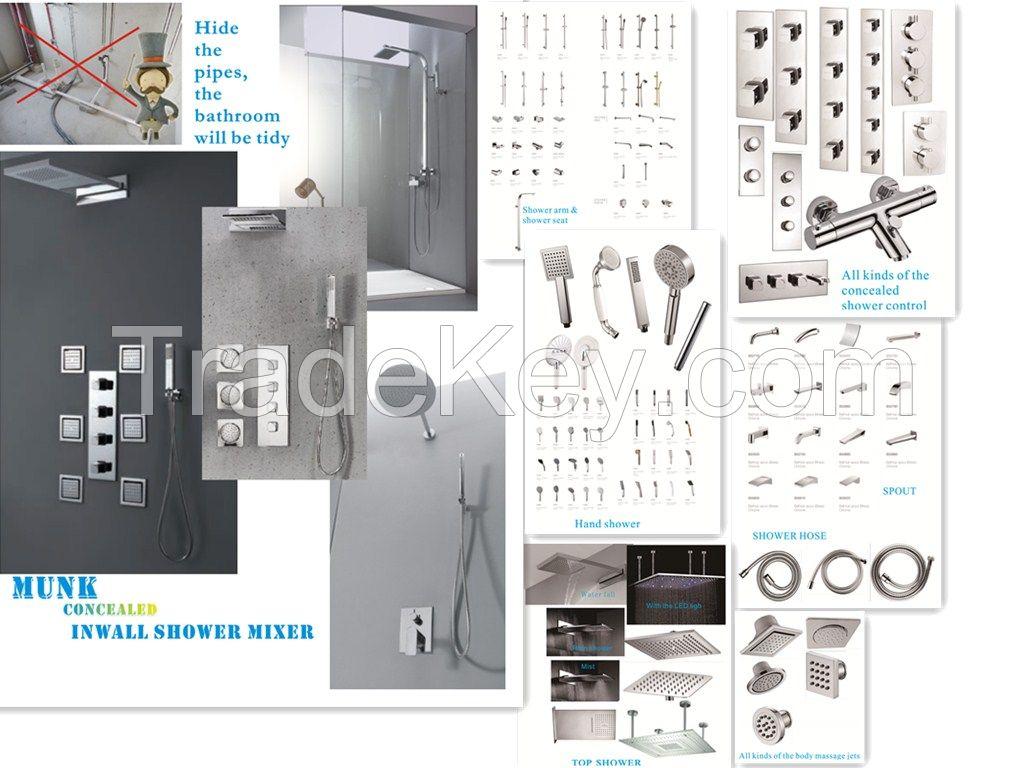 MUNK concealed inwall shower mixer+top shower head+ concealed shower control+hand held shower+body massage jets+spout+shower hose+shower sliding bar+shower arm+shower seat