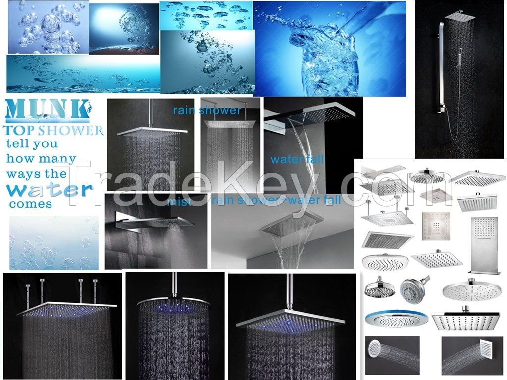 MUNK top shower+head shower+rain shower+water fall+mist+top shower with LED
