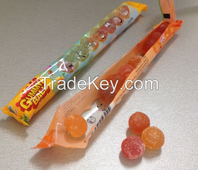 Soft Gummy Candy Ball Shape Fruit Jelly Bean Sweet Confectionary