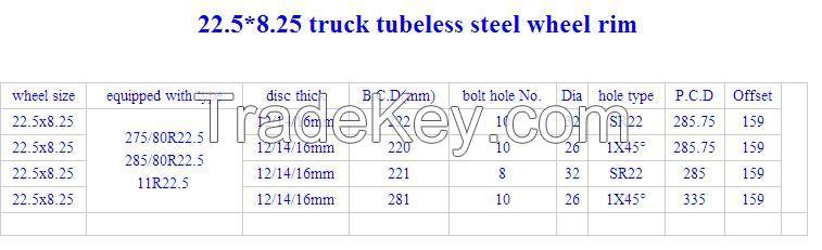 tubeless wheel rim 22.5*8.25 for tyre 11R22.5