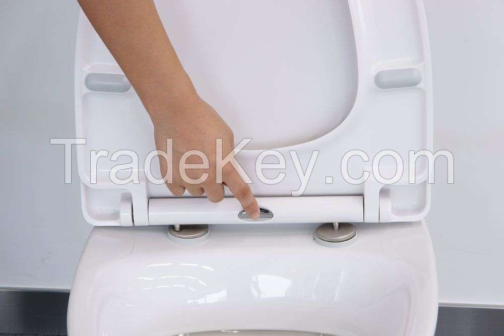 Urea toilet seat with quick release and soft close function
