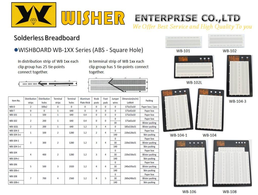 Solderless Breadboard, WISHBOARD WB-1XX Series(ABS - Square Hole)