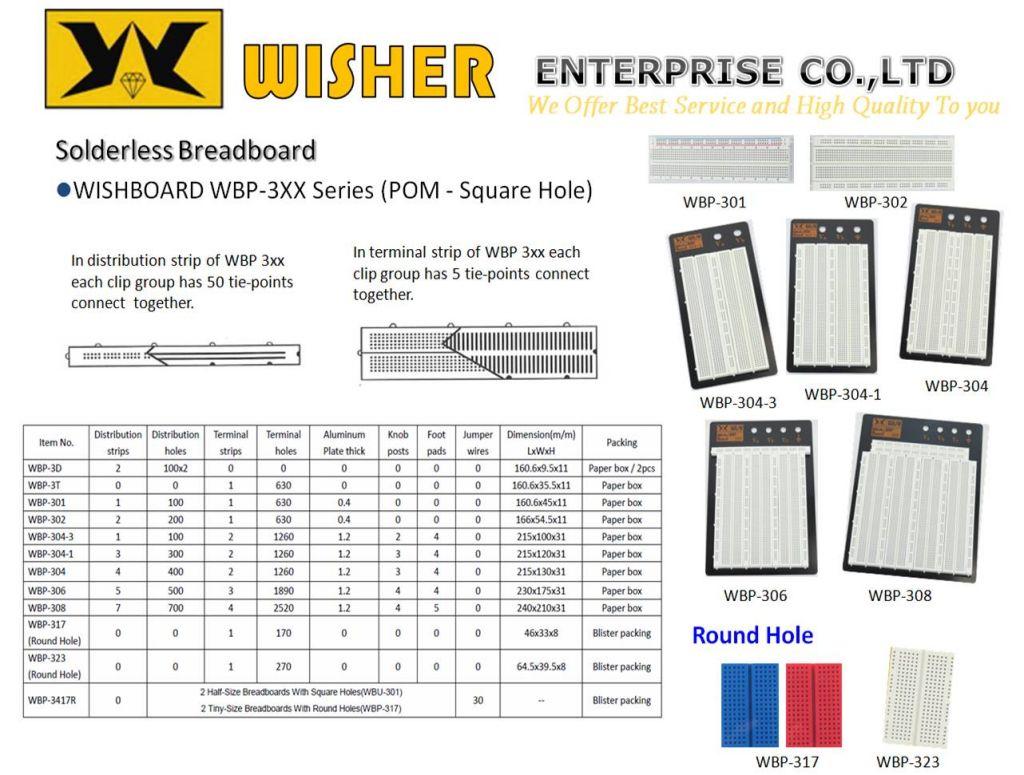 Solderless Breadboard, WISHBOARD WBP-3XX Series(POM - Square Hole)