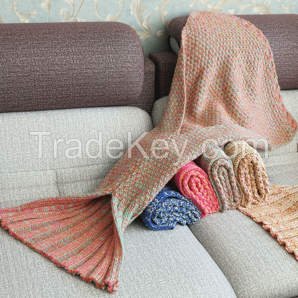 acrylic fabric handmade knitted mermaid tail blankets and mermaid blanket