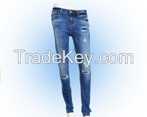 Nice fashion pakistan design women denim tight rippied jeans