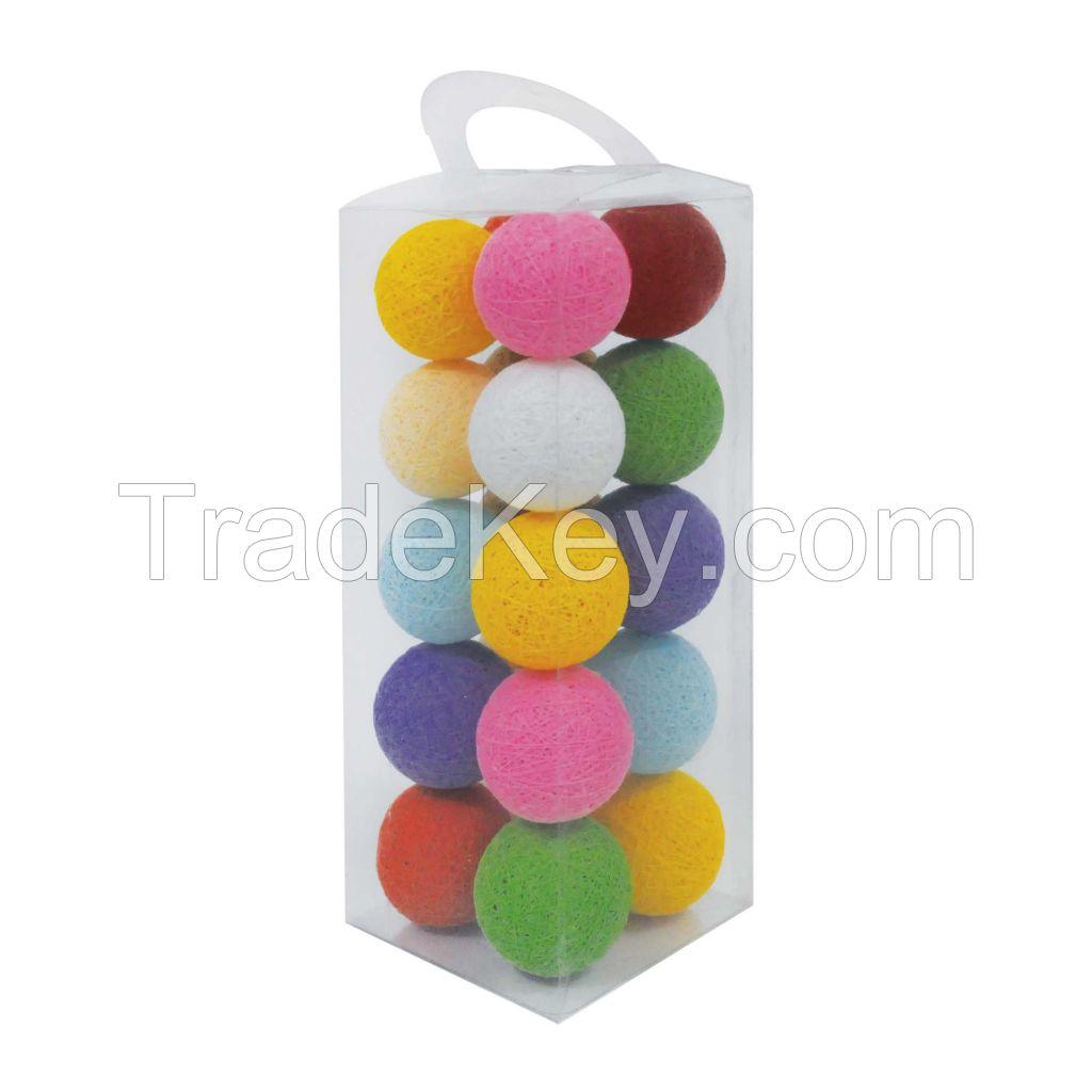 Handmade Rainbow Cotton Ball Light Festival Party Wedding Decoration Battery