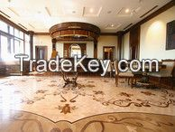 designed parquet, strips, solid wood floring, boards, medallions, carpentry (wall panels, caisson ceilings, stairs)