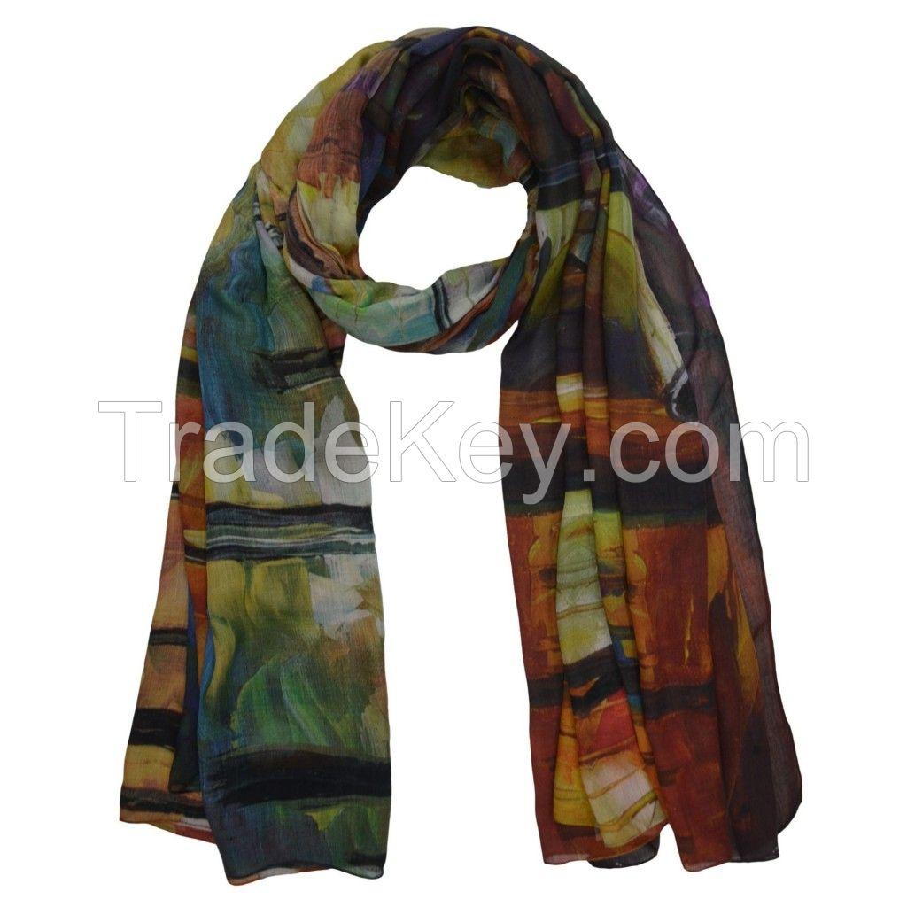 Autumn Art dark colored autumn shawl with art design