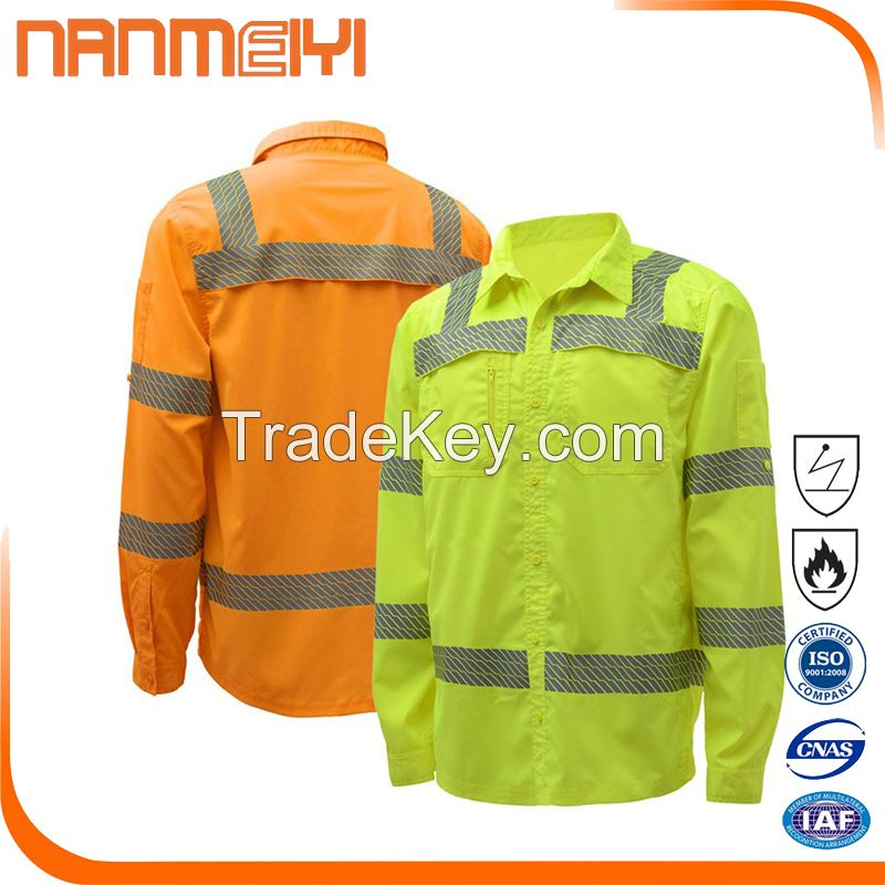 Cotton industrial work shirt flame retardant work shirt hi vis mens work shirts