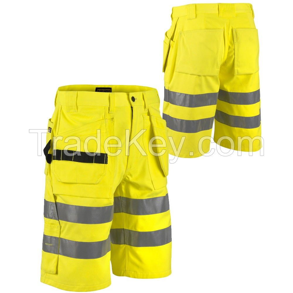 Bright orange reflective tape men cargo shorts pants