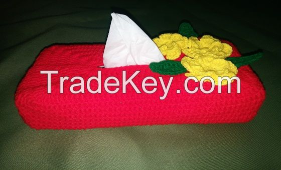 Hand-woven wool products, tissue box cover