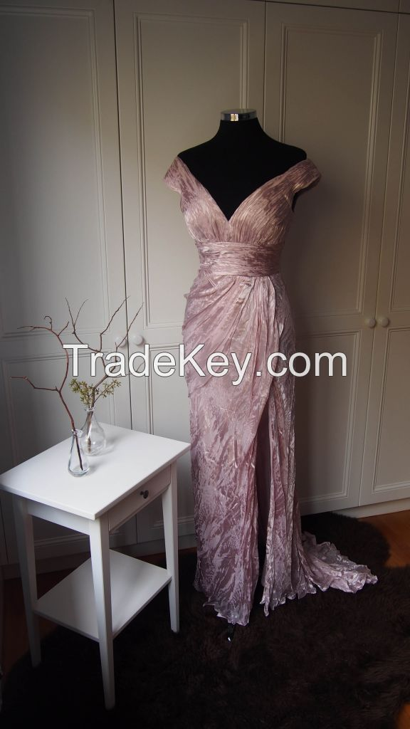 Glimmer print fabric off the shoulder sheath evening dress