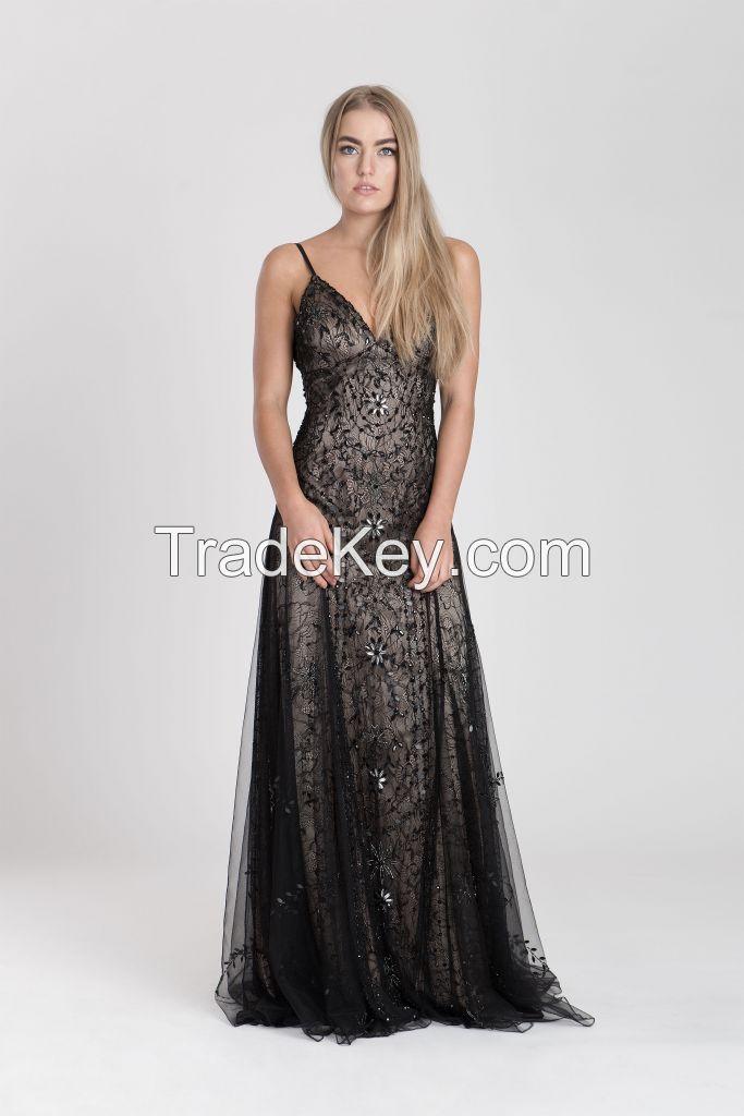 Elegant evening dress with exquisite lace classic design