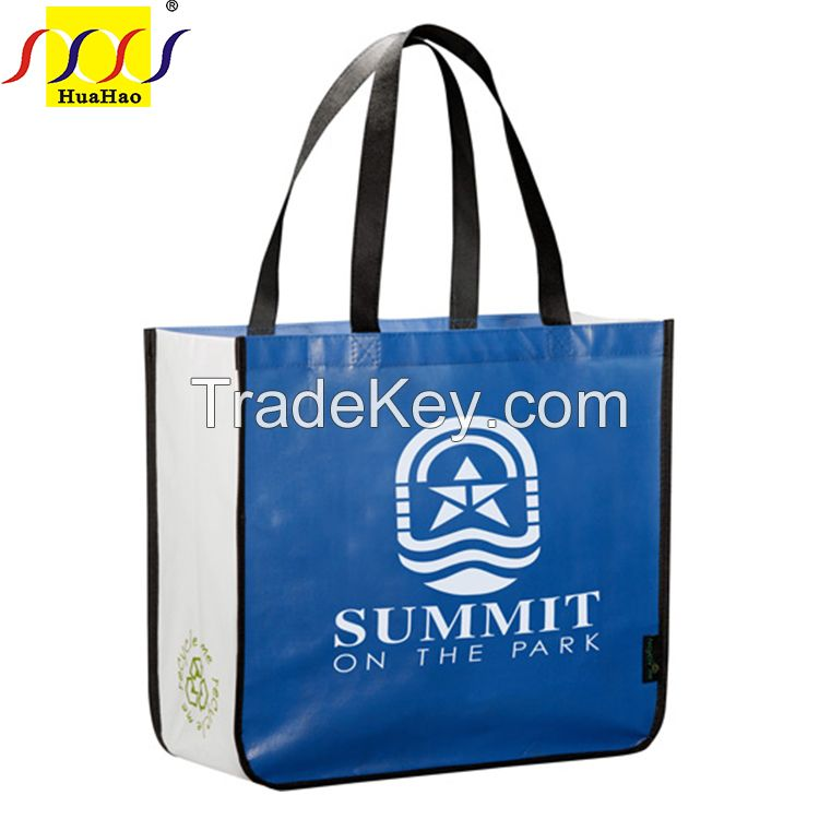 laminated recycle nonwoven fashional pp handled bags for promotion