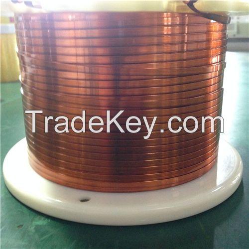 Self-fluxing polyesterimide flat enamelled wires