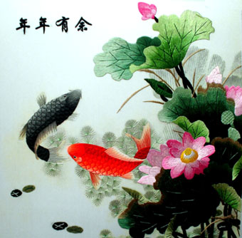 embroidery,fish,ornament,handicraft,made in China