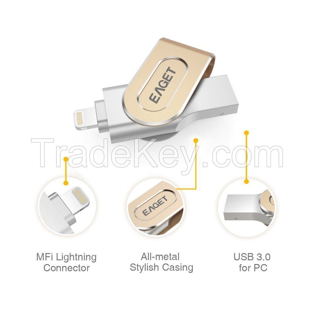 Eaget I80 Apple MFi Pen Drive Lightning / USB 3.0 Dual-interface OTG 32G/64G/128G