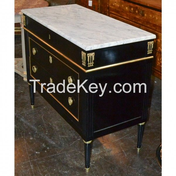 French Louis XVI Black Lacquered Commode