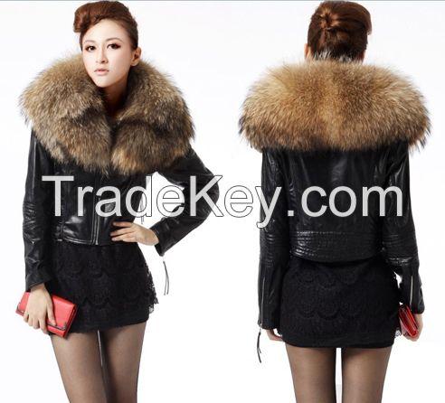 Ladies Fur Leather Jacket