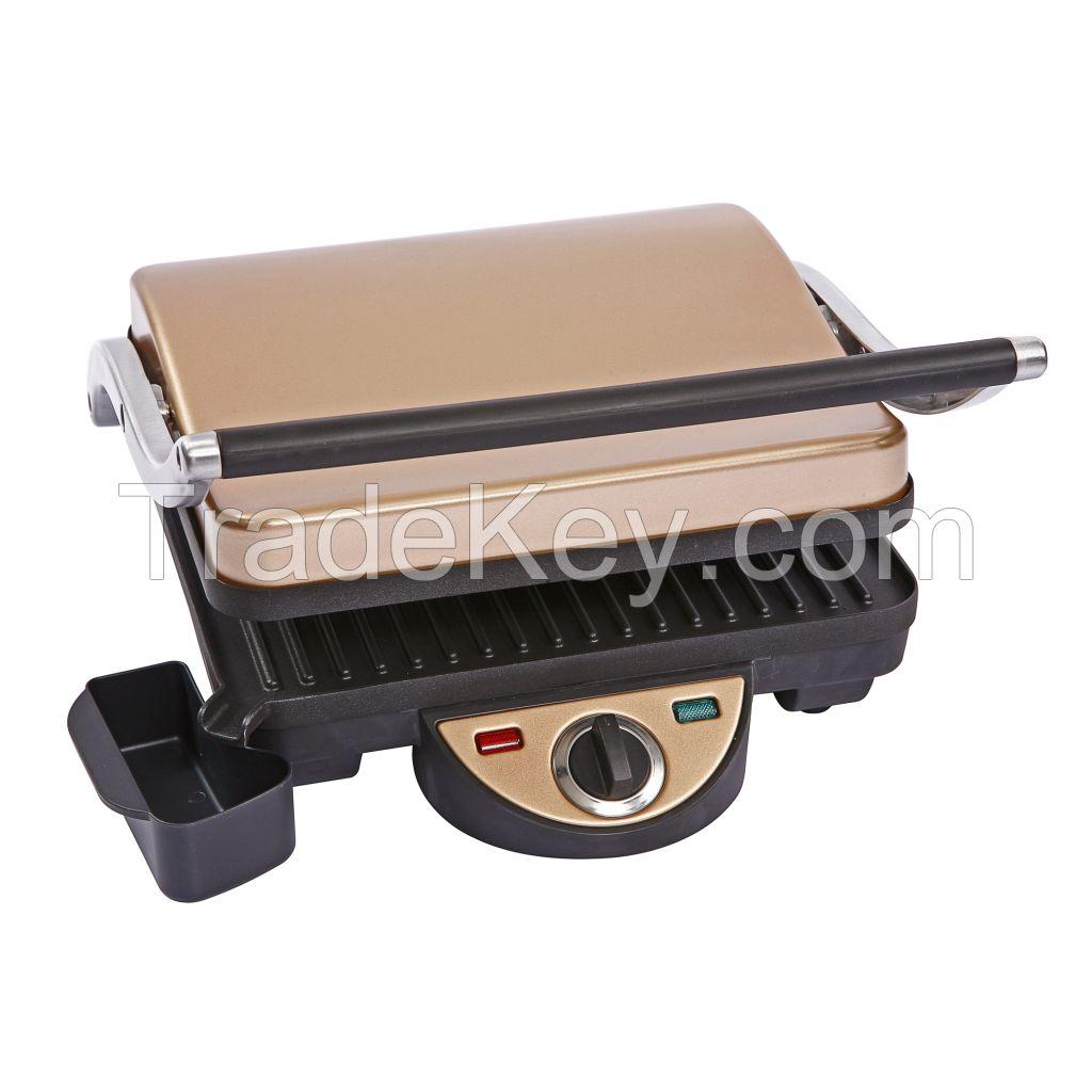 4 slice non-stick panini grill with golden color
