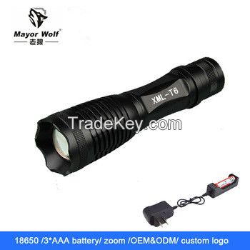 Aluminum alloy 18650 rechargeable waterproof camping led flashlight