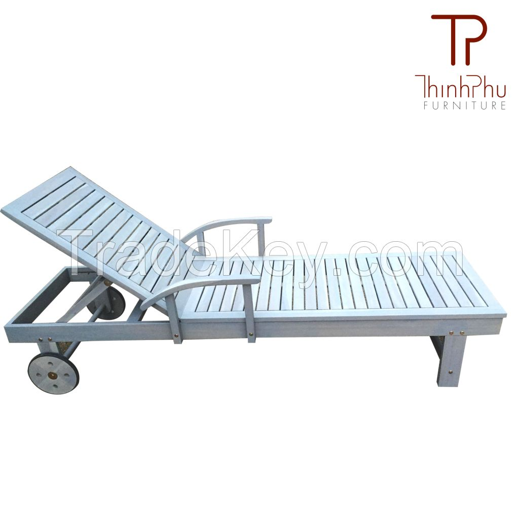 TAMELES - Wood Outdoor Sun Lounger - Furniture import from Vietnam