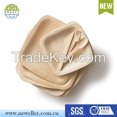 Cheap Rectangular Disposable Bamboo Hot Food Serving Plate