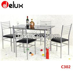 table and chairs in stainless steel /furniture dining table with glass and chair