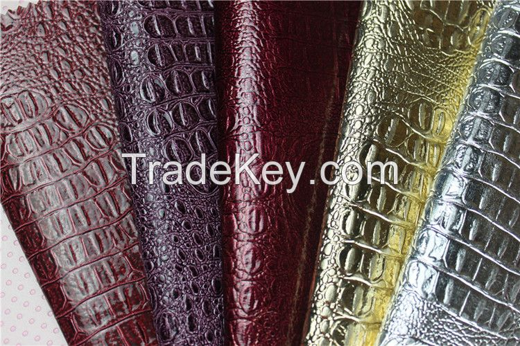 PVC leeather for luggage , handbags Huahong PVC Synthetic Artificial Leather